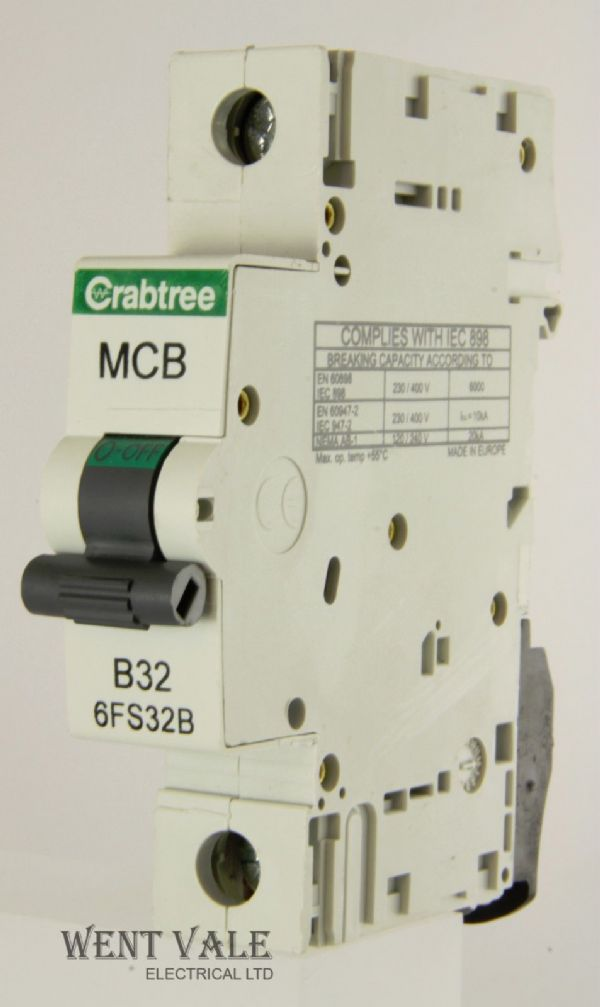 Crabtree Loadstar - 6FS32B - 32a Type B Single Pole MCB Used